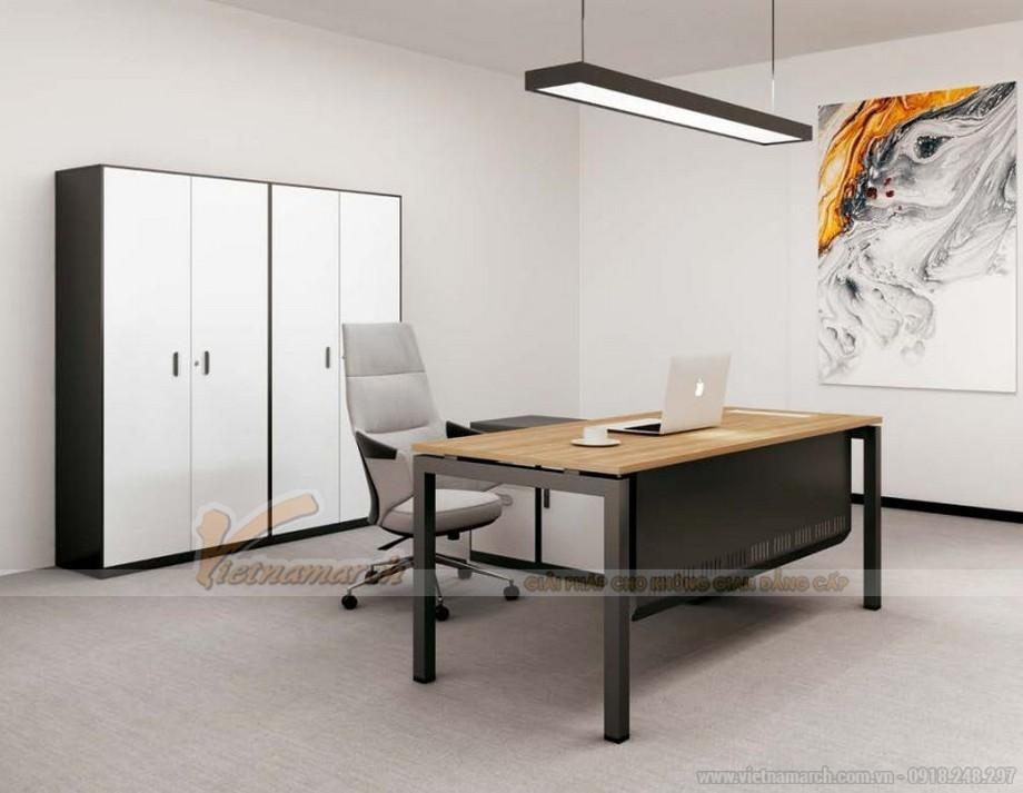 Mẫu thiết kế bàn làm việc D550 ấn tượng cho nội thất văn phòng giám đốc hiện đại, chắc chắn