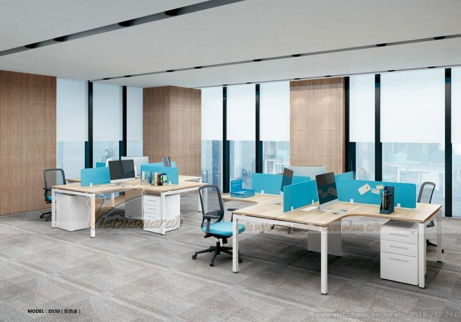 Mẫu thiết kế bàn làm việc D550 ấn tượng cho văn phòng làm việc của nhân viên hiện đại hình dấu +