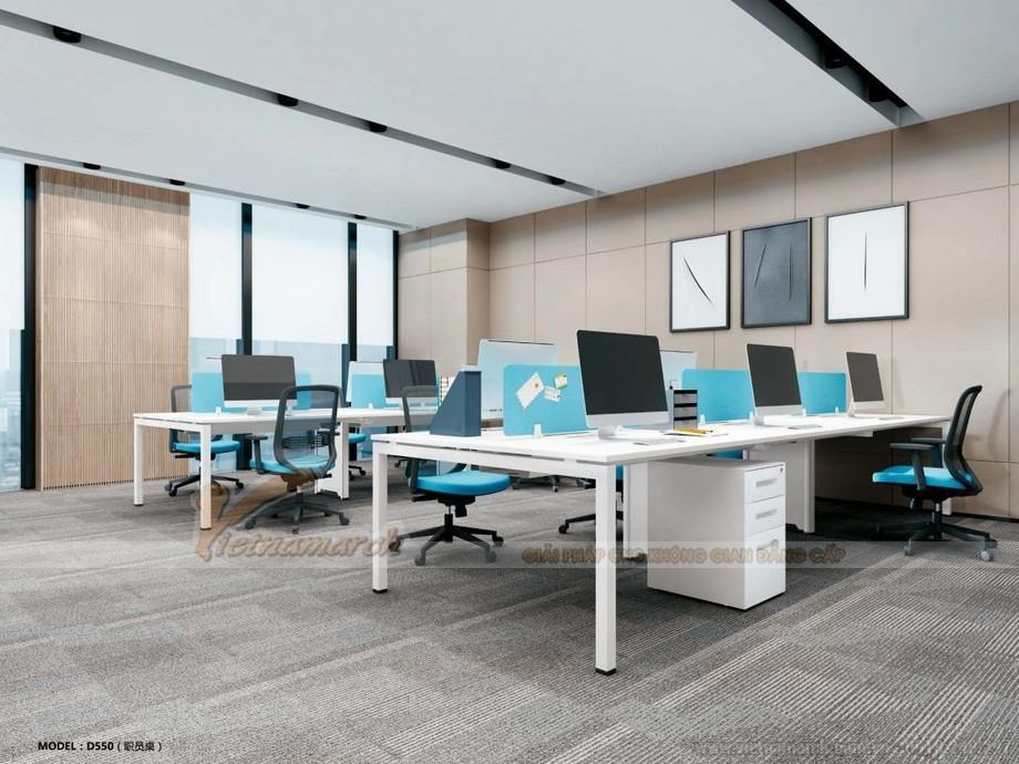 Mẫu thiết kế bàn làm việc D550 ấn tượng cho nội thất văn phòng hiện đại kết hợp thành mẫu bàn dài màu trắng