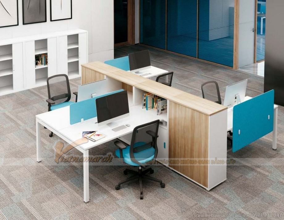 Mẫu thiết kế bàn làm việc D550 ấn tượng cho nội thất văn phòng hiện đại kết hợp tủ cao