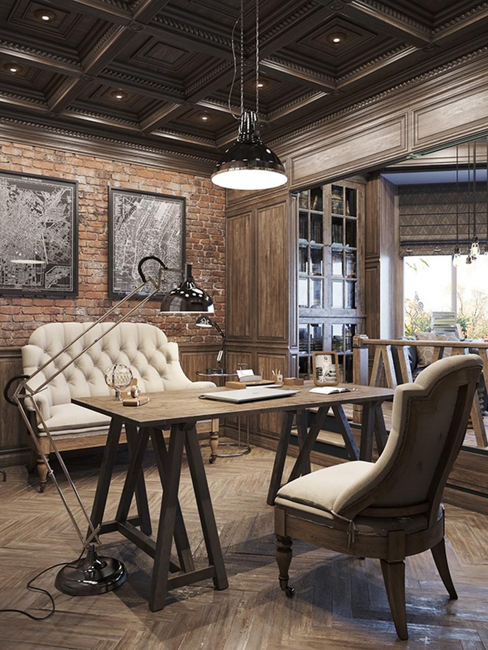 biến tấu nơi làm việc có chút hơi hướng cổ điển bằng cách sử dụng những bức ảnh treo tường, giấy dán tường, màu sơn gỗ