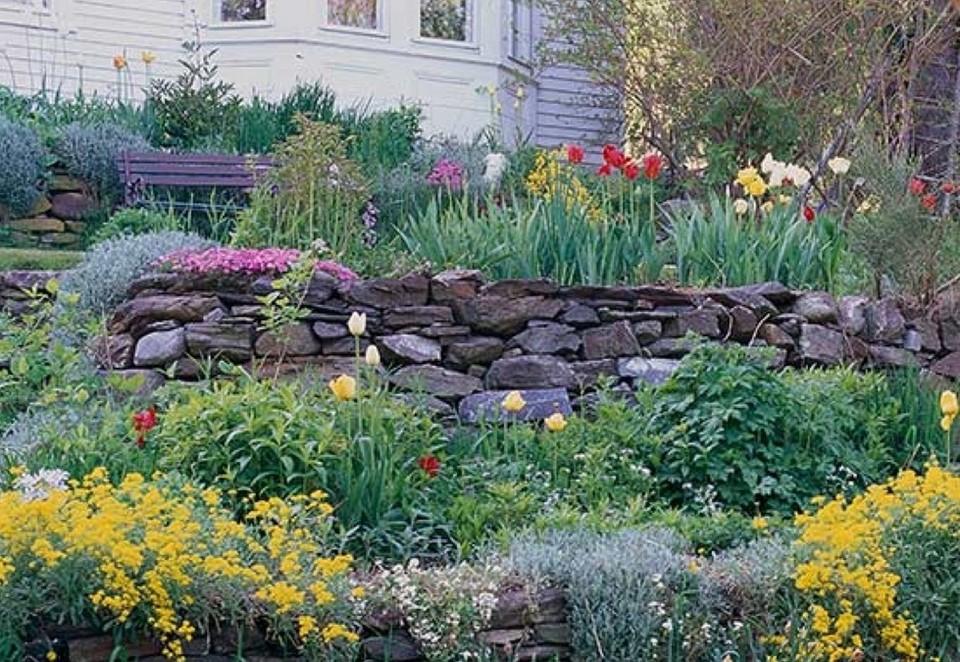thiết kế vườn cây hoa xen lẫn đá hay tảng đá lớn