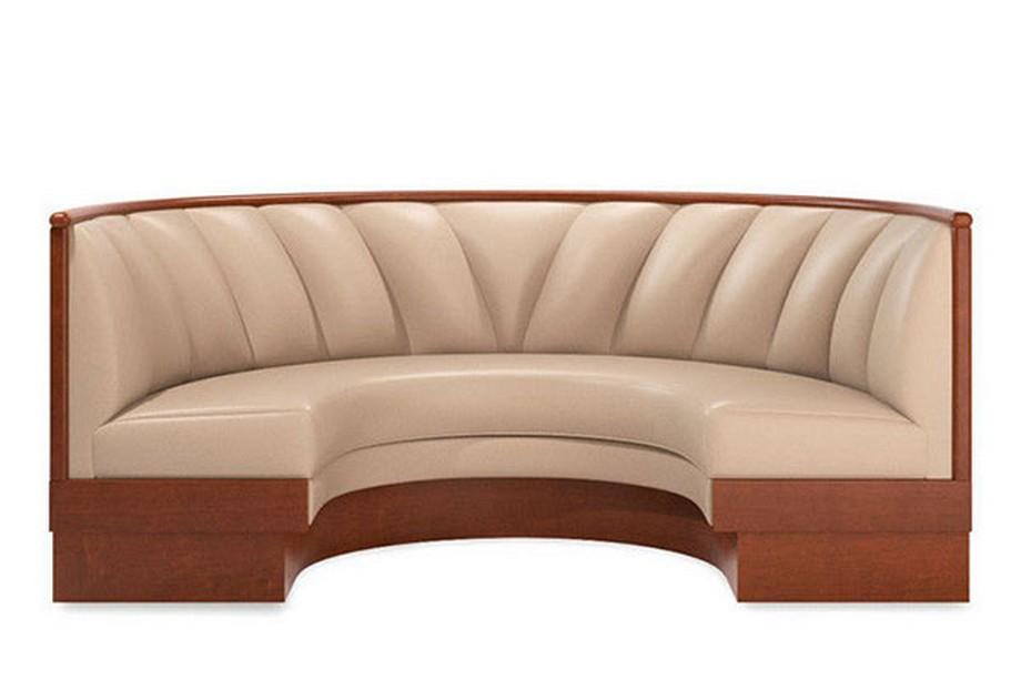 Mẫu Sofa nhà hàng nhập khẩu hình bán nguyệt chất liệu da ấn tượng