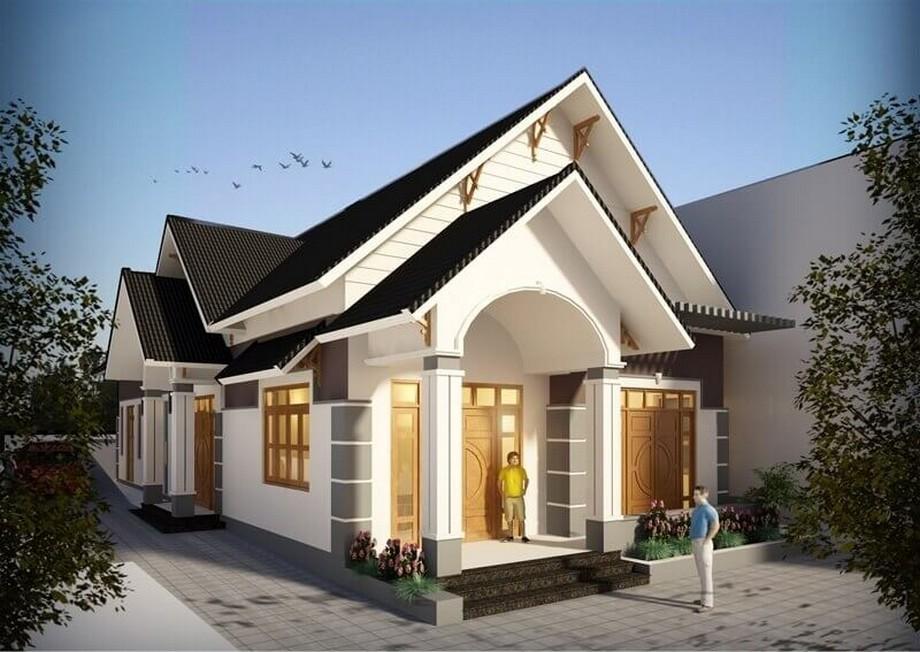 Thiết kế nhà cấp 4 mái thái có phòng thờ kiểu dáng hiện đại với 3 phòng ngủ