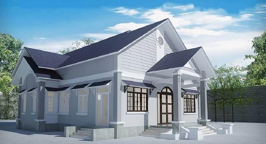 Thiết kế nhà cấp 4 mái thái có phòng thờ, 3 phòng ngủ, thiết kế mái thái, tông màu sáng