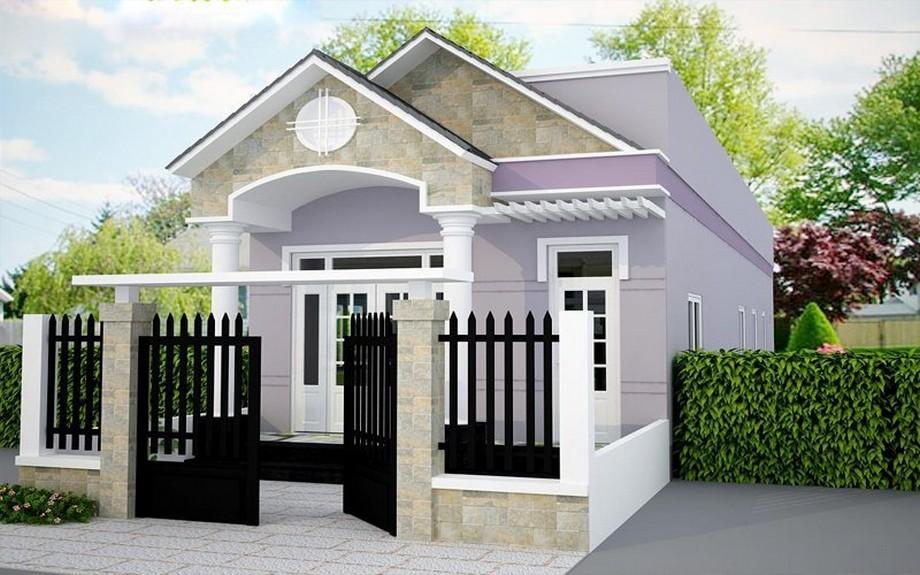 Thiết kế nhà cấp 4 có phòng thờ mái thái, có sân thượng, sơn tường màu tím đẹp mắt