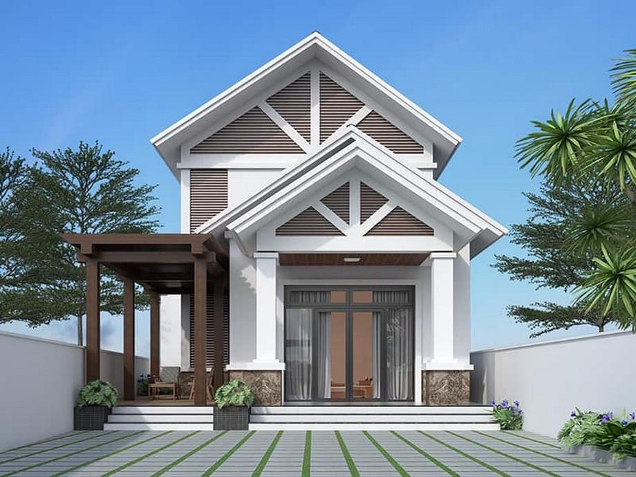 Thiết kế nhà cấp 4 có phòng thờ diện tích 100m2 phong cách hiện đại có khu nghỉ ngơi ngoài trời