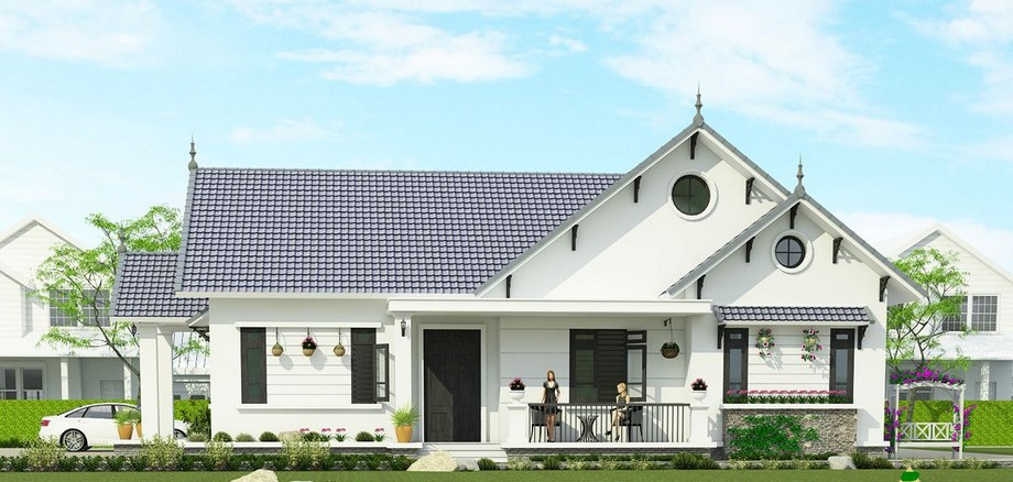 Thiết kế nhà cấp 4 có phòng thờ 200m2 với 4 phòng ngủ, kiểu dáng mái thái hiện đại