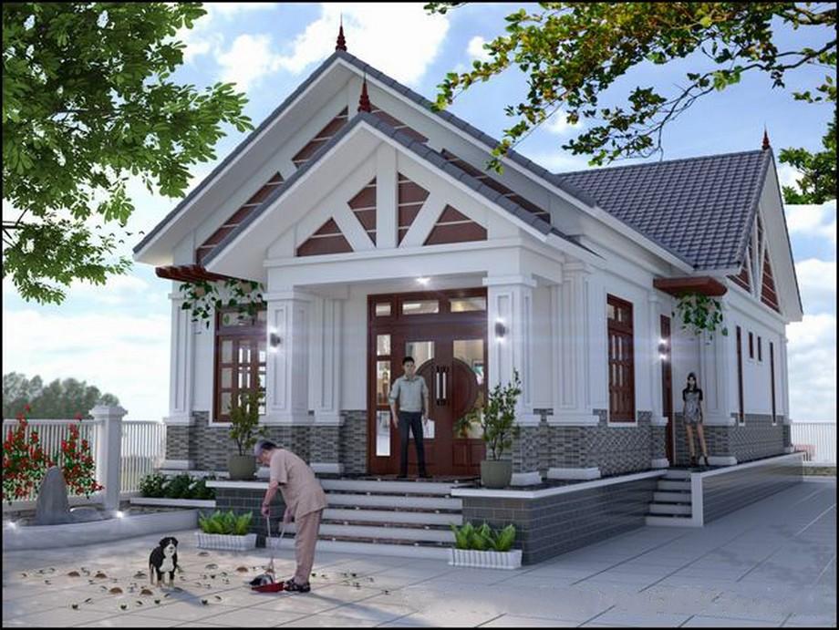 Thiết kế nhà cấp 4 có phòng thờ mái thái hiện đại cùng hệ thống cửa bằng gỗ kết hợp kính ấn tượng