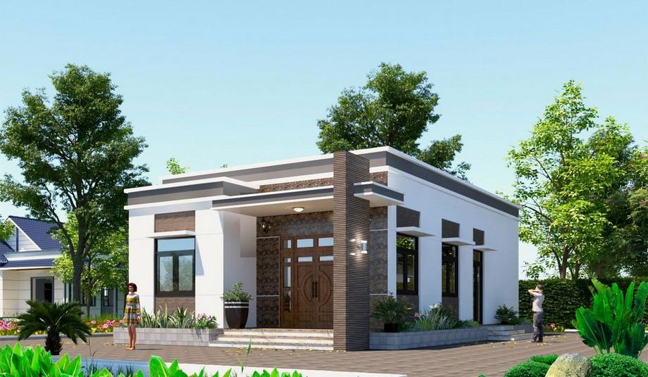 Thiết kế nhà cấp 4 mái bằng hiện đại có phòng thờ, phòng khách, phong bếp, phòng ăn và 2 phòng ngủ