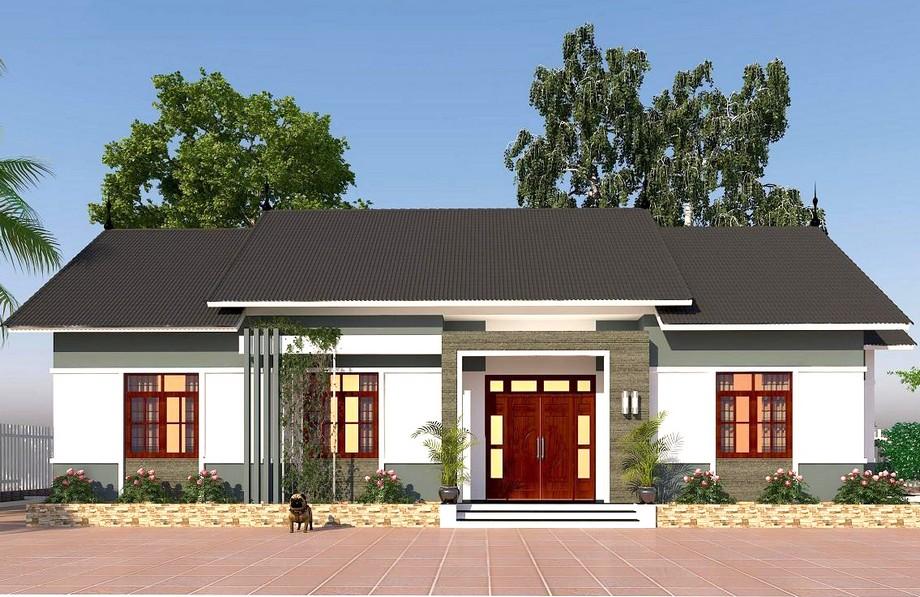 Thiết kế nhà cấp 4 hiện đại với thiết kế mái ấn tượng, bên trong có phòng thờ và 3 phòng ngủ