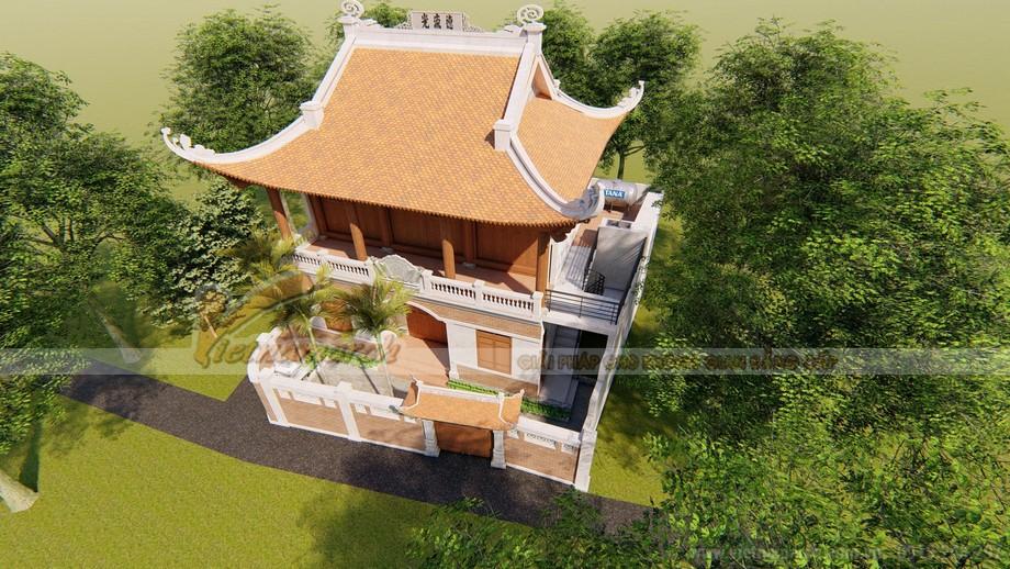 Hình ảnh thiết kế nhà thờ họ 3 gian mái cong đẹp sang trọngNghệ An