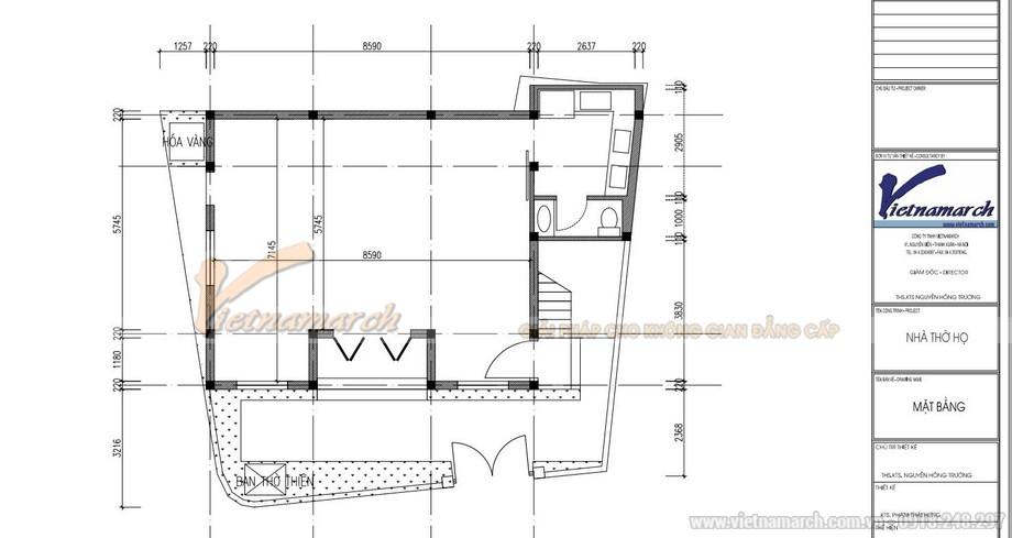 Bản vẽ thiết kế nhà thờ họ 2 tầng diên tích hơn 100m2