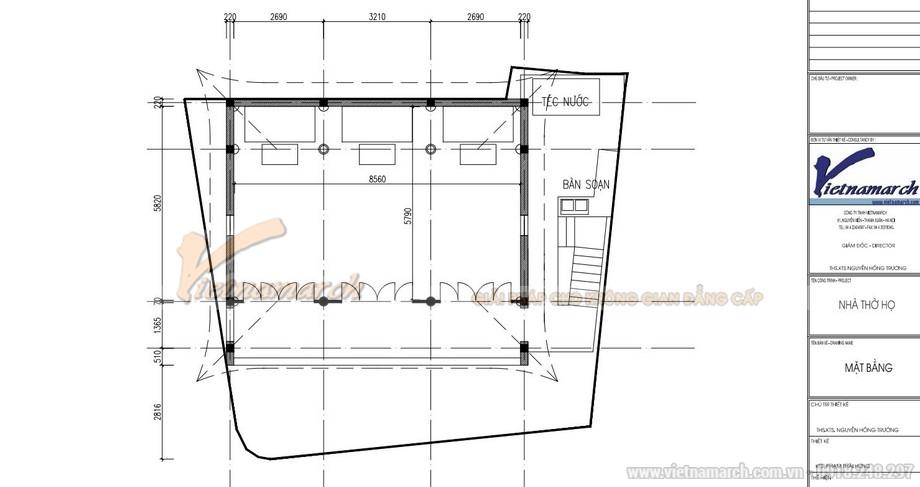 Bản vẽ  mặt bằng thiết kế nhà thờ họ 2 tầng 3 gian 4 mái đao tại Nghệ An