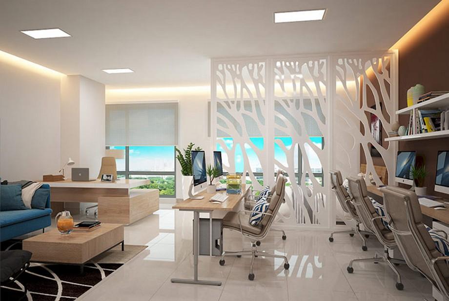 Thiết kế nội thất nhà ở kết hợp văn phòng với không gian thoáng đãng