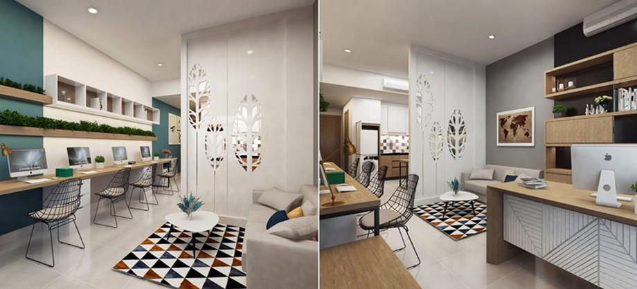 Thiết kế nội thất nhà ở kết hợp văn phòng với các khu vực chức năng phong phú