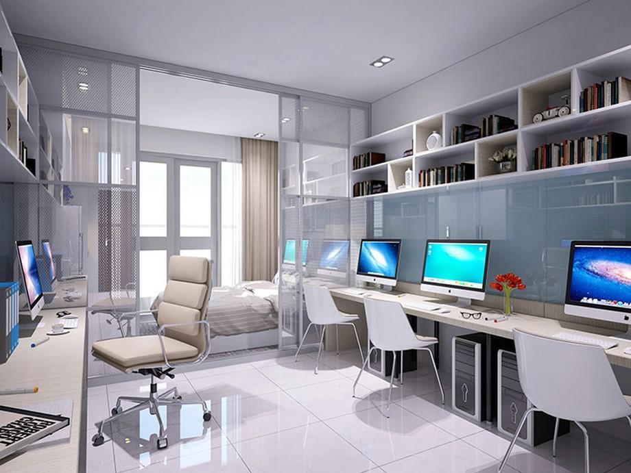 Thiết kế nội thất nhà ở kết hợp văn phòng với cửa kính đem lại nguồn ánh sáng đầy đủ