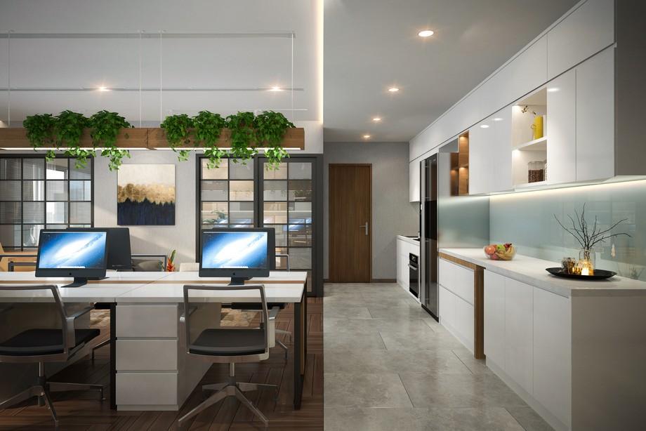 Thiết kế nội thất nhà ở kết hợp văn phòng hiện đại tông màu trắng kết hợp không gian xanh