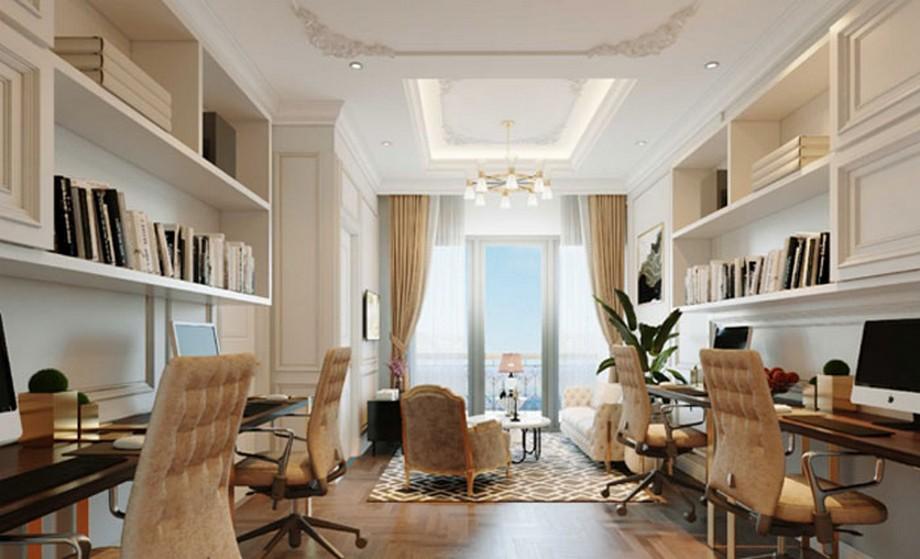 Thiết kế nội thất nhà ở kết hợp văn phòng phong cách tân cổ điển