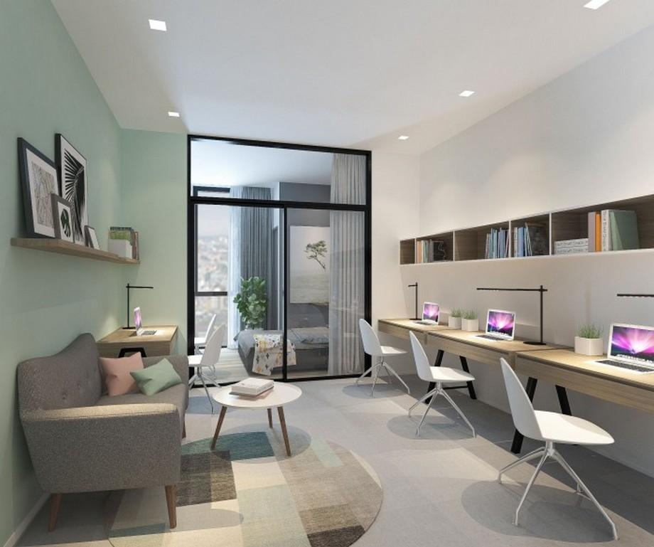 Thiết kế nội thất nhà ở kết hợp văn phòng phong cách Bắc Âu gam màu pastel