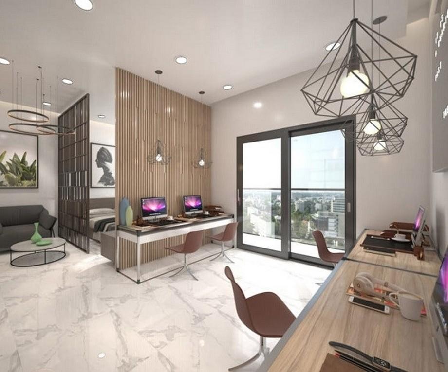 Thiết kế nội thất nhà ở kết hợp văn phòng hiện đại với hệ thống vách ngăn gỗ ấn tượng