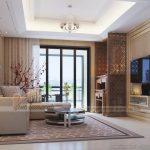 Thiết kế phòng khách kết hợp phòng thờ cho nhà bác Hòa  chung cư Ecopark-Hưng Yên