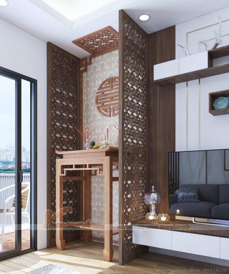 Phòng thờ chung cư VP3 tầng 25 đẹp sang trọng với không gian hiện đại