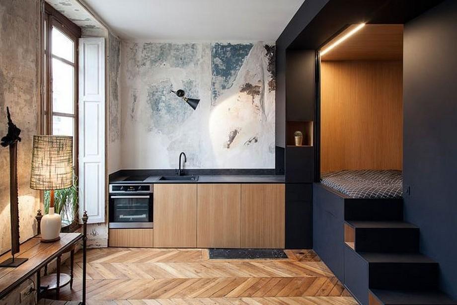 Mẫu căn hộ nhỏ với thiết kê tủ bếp xinh xắn