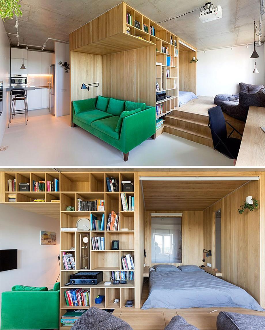 Mẫu thiết kế căn hộ thông minh chất liệu gỗ ấn tượng