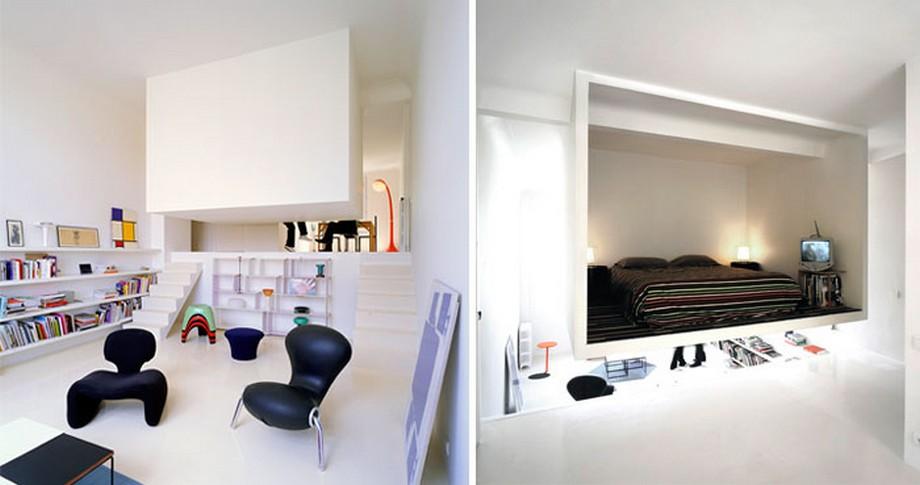 Mẫu thiết kế với gác lửng làm phòng ngủ được ẩn thú vị
