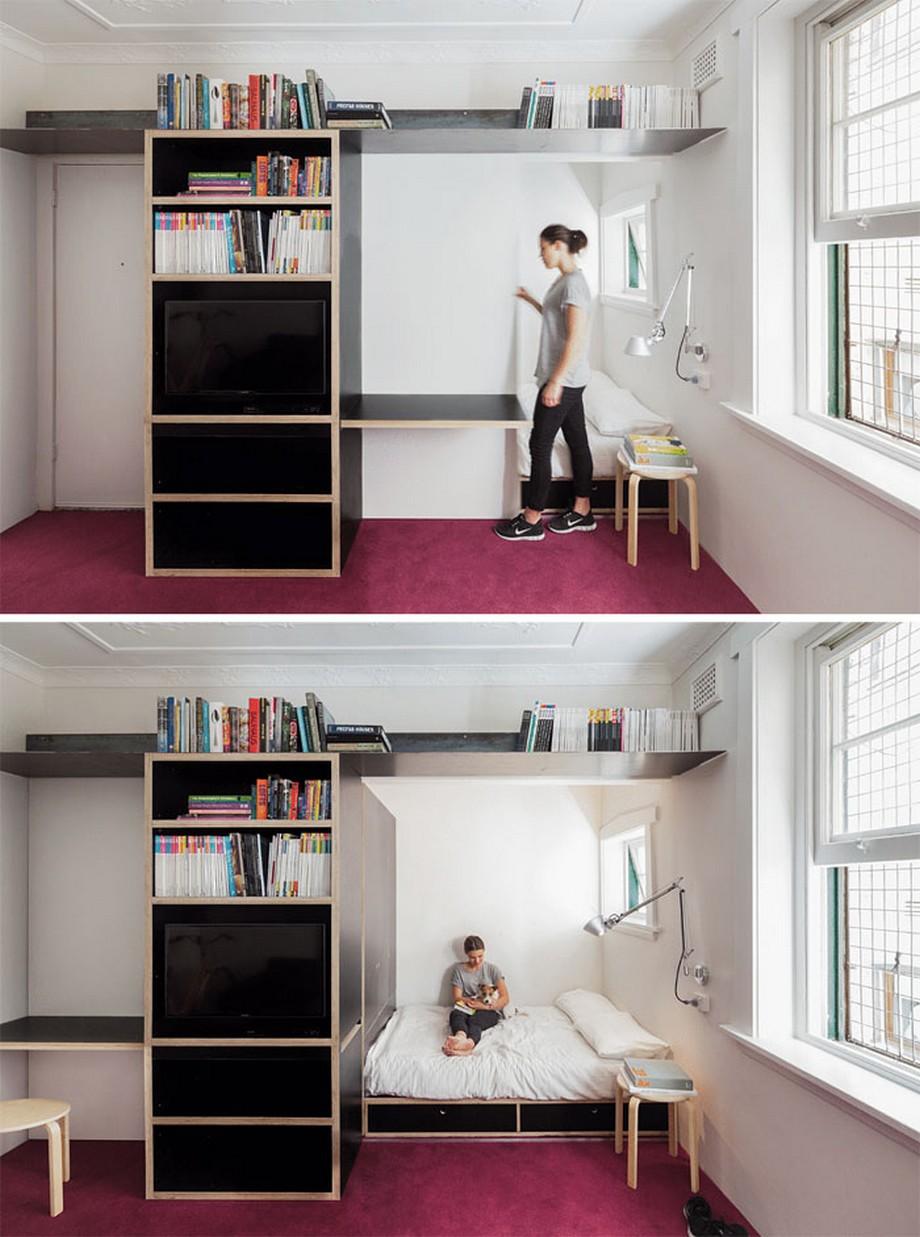 Mẫu thiết kế căn hộ nhỏ với cửa kéo phân chia không gian