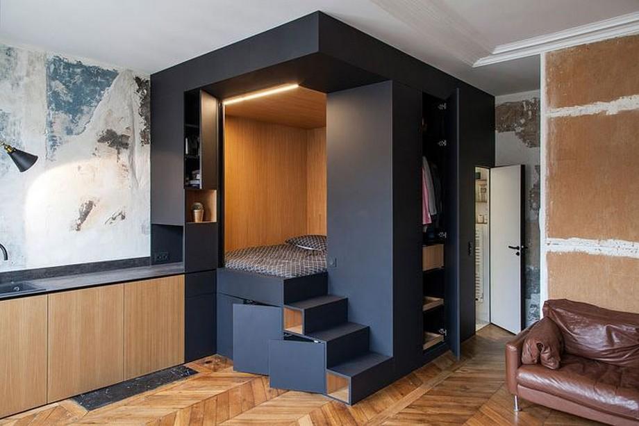 Thiết kế giường ngủ kết hợp tủ lưu trữ và tủ đựng quần áo