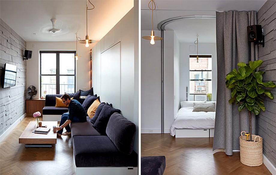 Mẫu căn hộ nhỏ hiện đại với rèm ngăn cách không gian