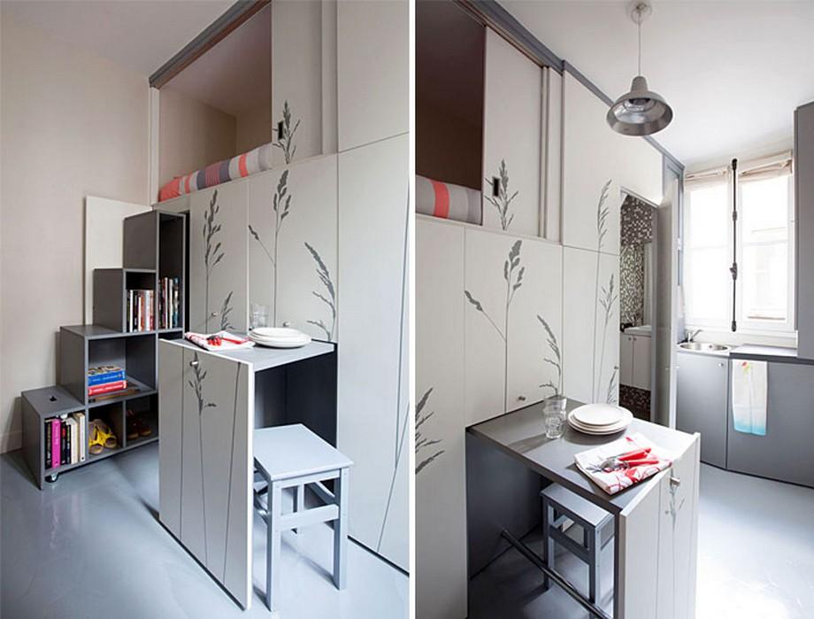 Mẫu nhà với nội thất thông minh cửa kéo, bàn ăn kéo ra kéo vào