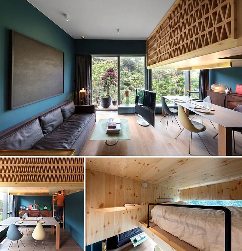 Mẫu căn hộ sang trọng với chất liệu gỗ và gác lửng làm phòng ngủ