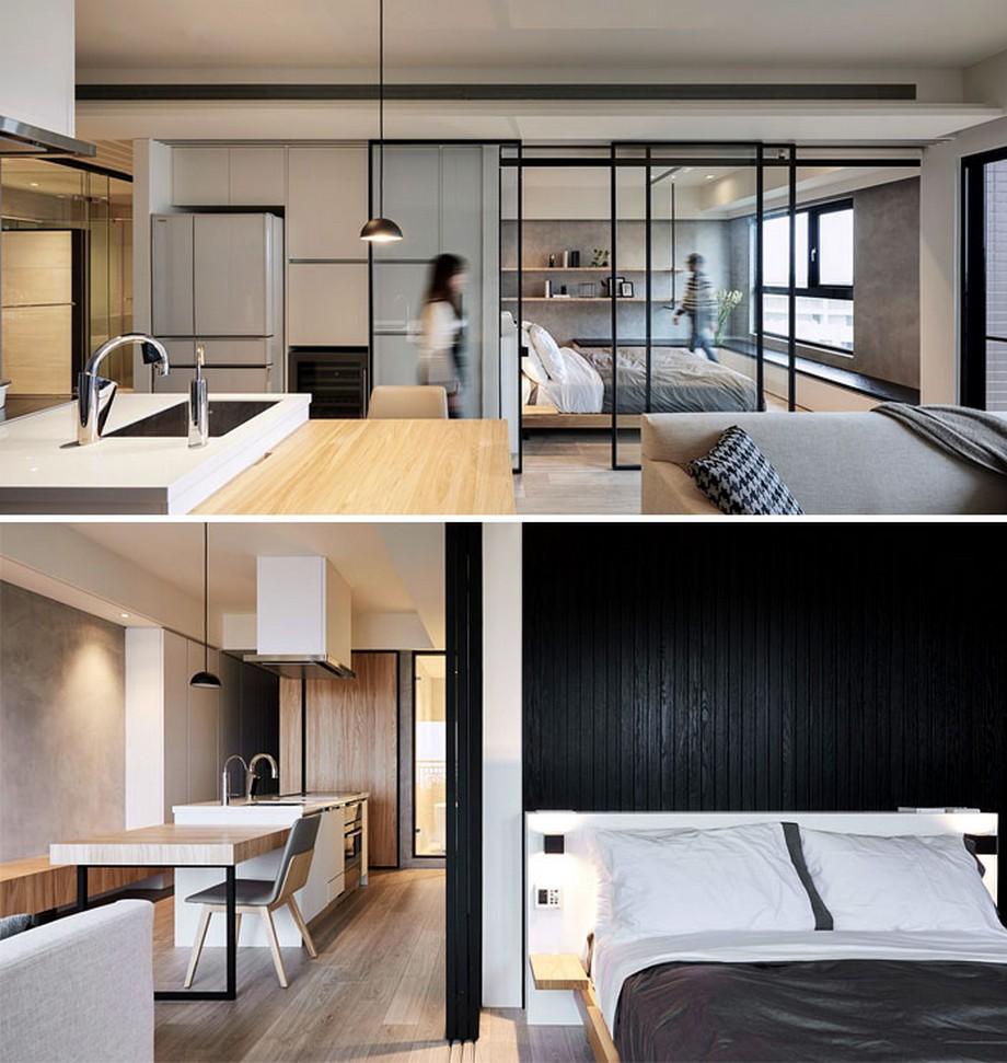 Căn hộ có thiết kế hiện đại với vách cửa kính trong suốt