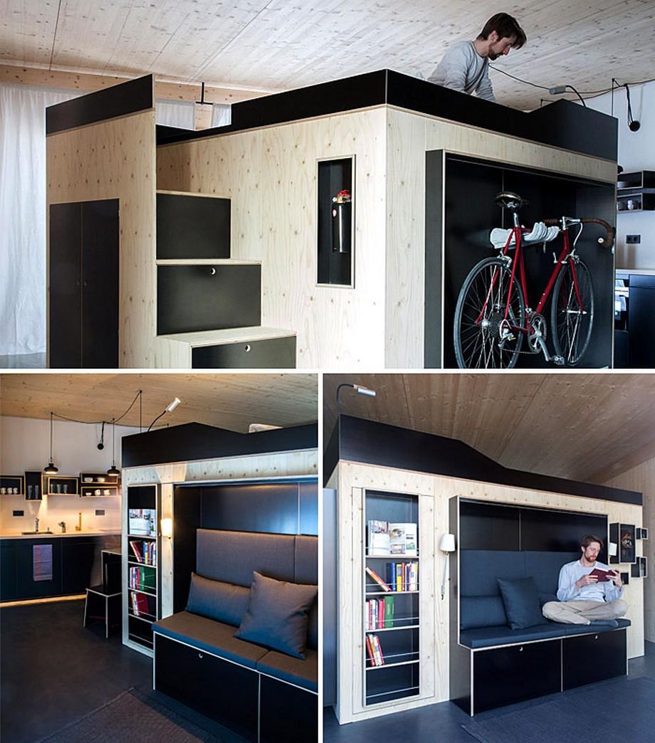 Mẫu nội thất thông minh với tông màu gỗ và màu đen ấn tượng