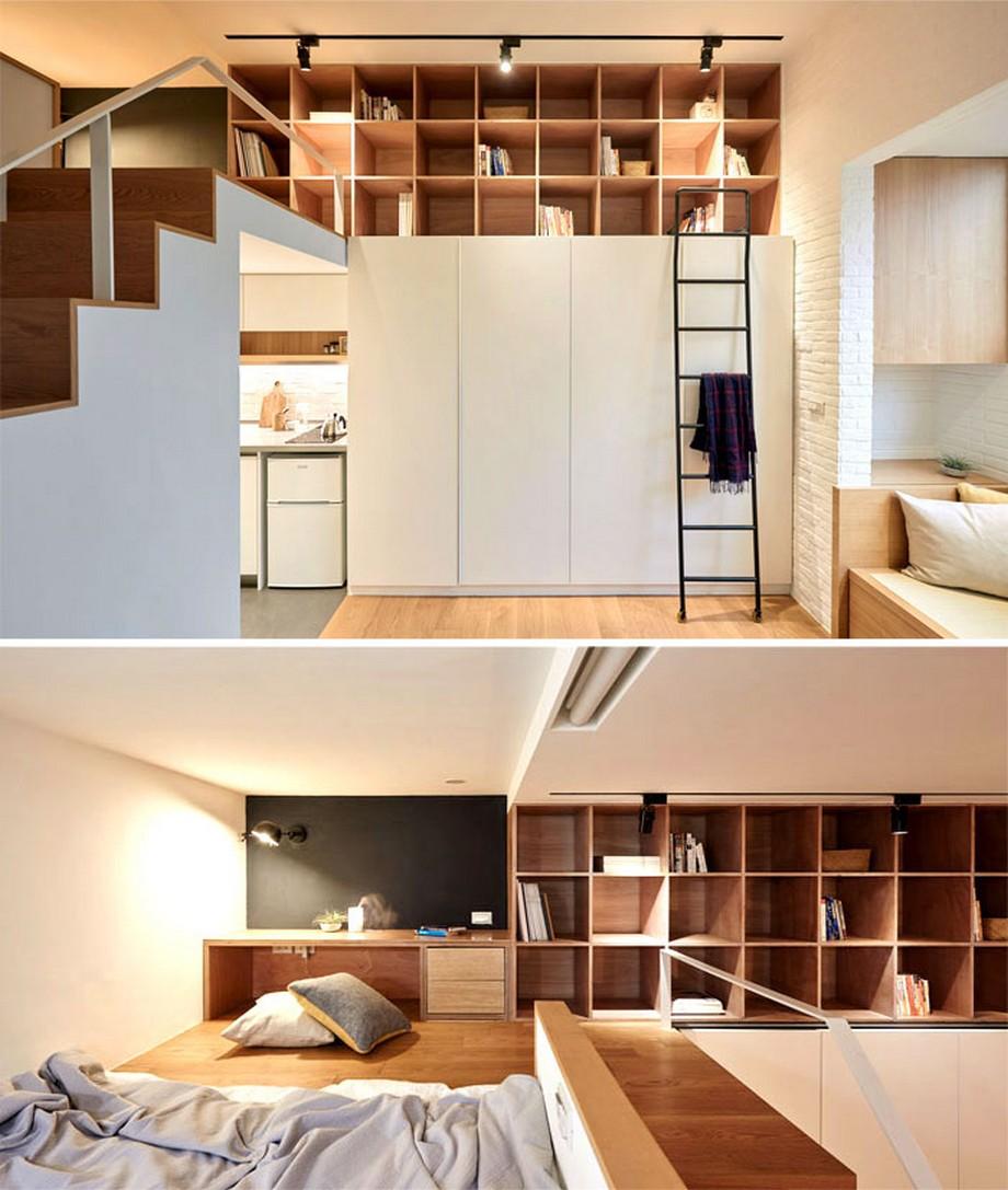 Mẫu căn hộ nhỏ có gác lửng thoải mái, trẻ trung