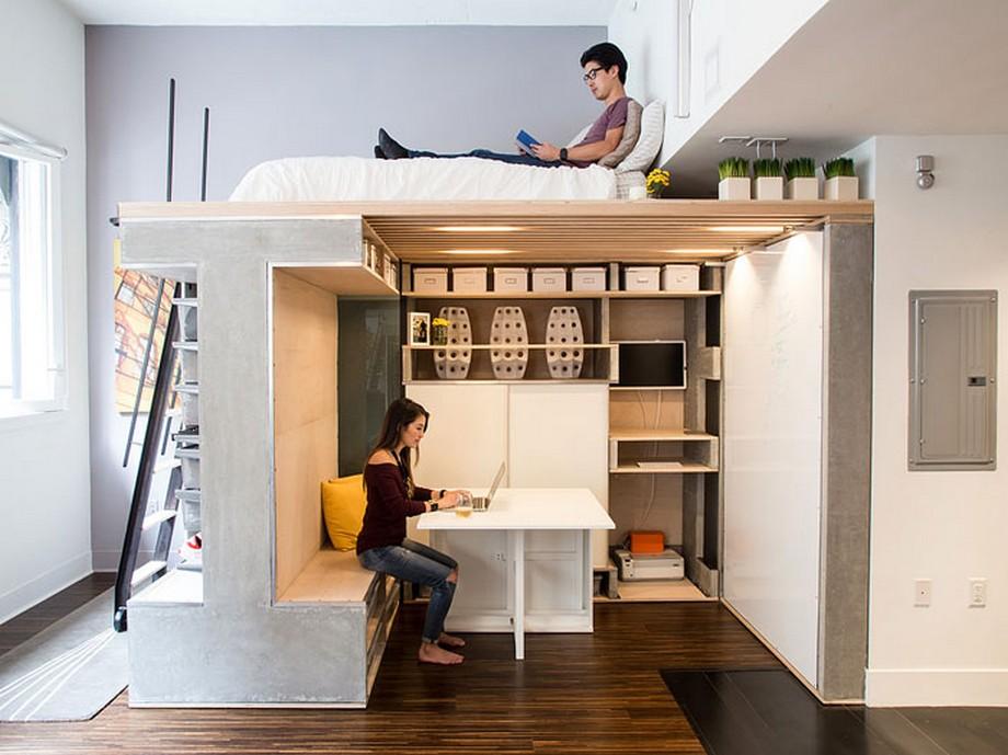 Thiết kế căn hộ với hệ thống giường kết hợp không gian làm việc bên dưới