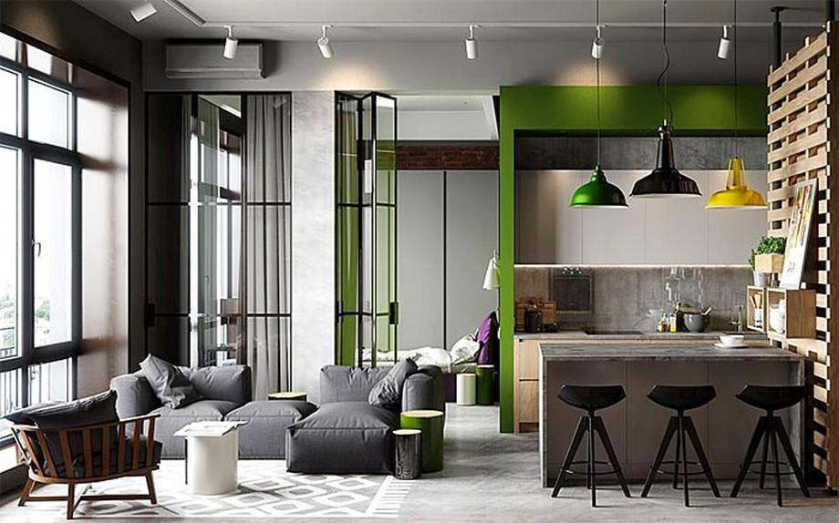 Không gian căn hộ đa chất liệu và màu sắc