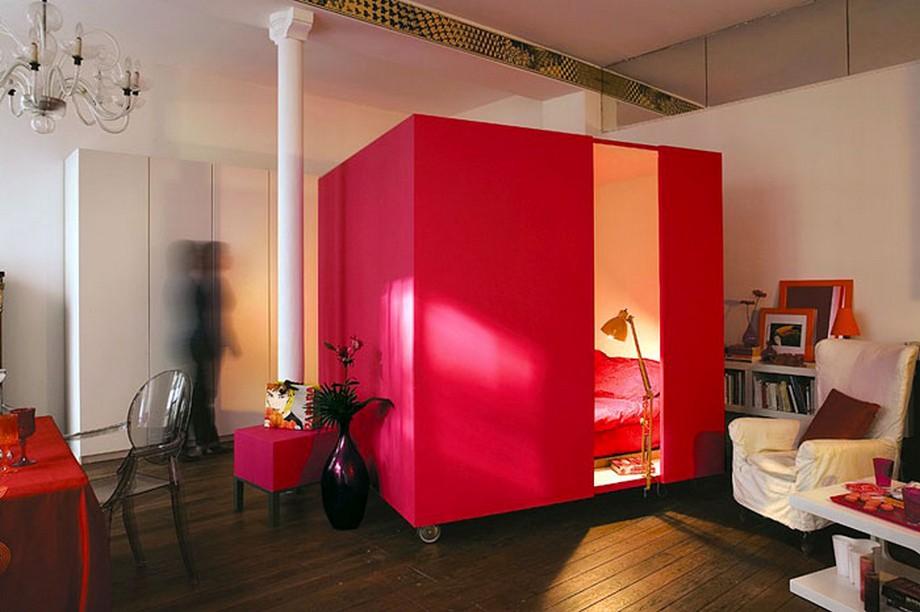Mẫu căn hộ nhỏ với phòng ngủ là một khối hộp di động độc đáo