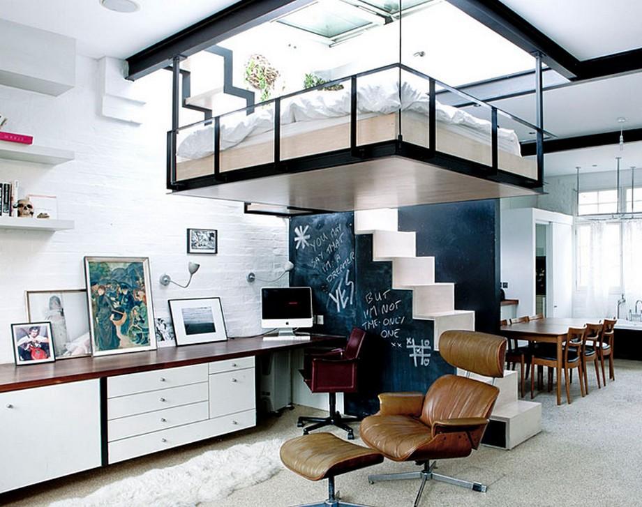 Thiết kế căn hộ với phòng ngủ treo độc đáo