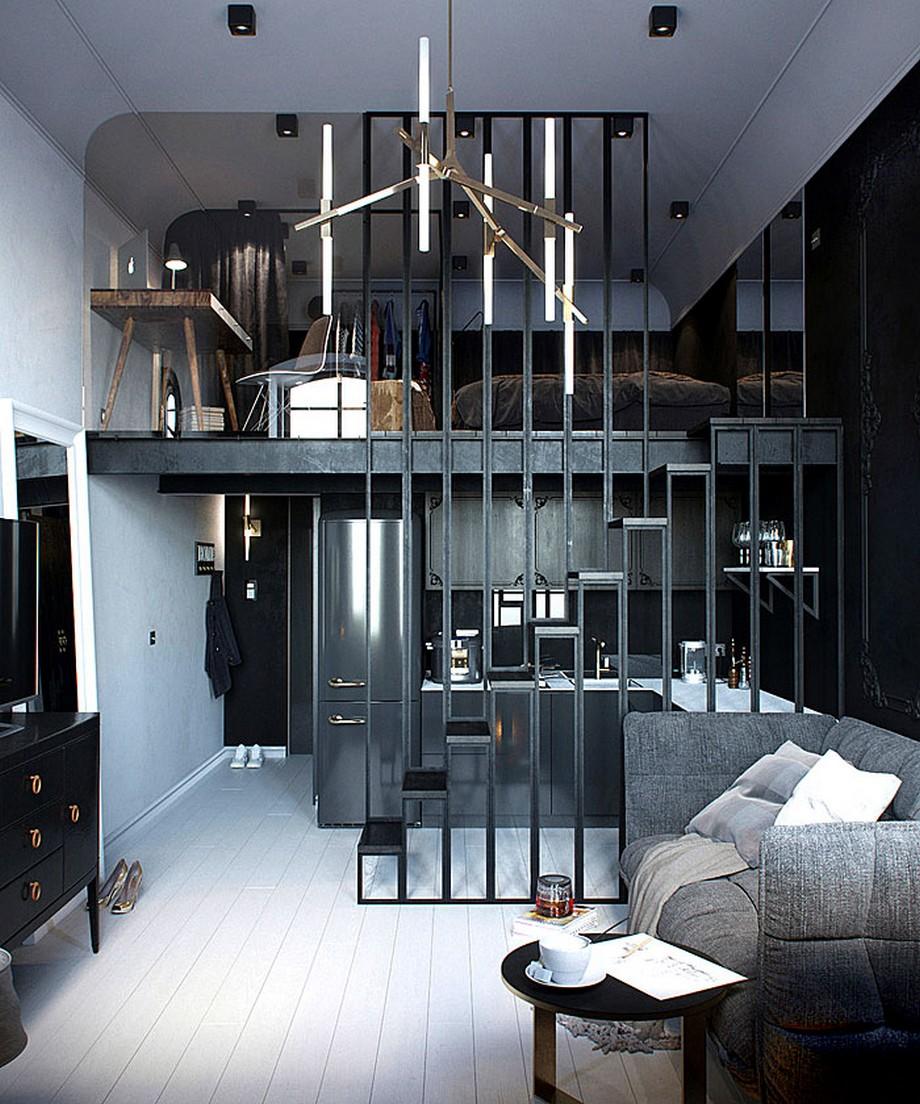 Thiết kế căn hộ sử dụng tông màu tối ấn tượng