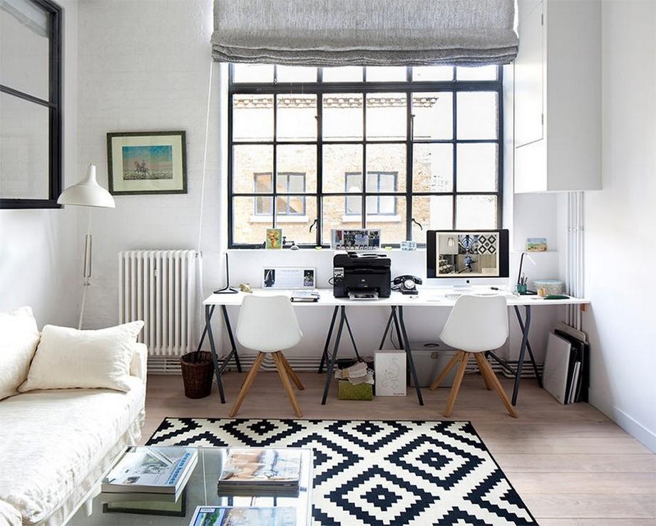 Nội thất phòng làm việc nhỏ phong cách Bắc Âu kết hợp bộ bàn ghế sofa
