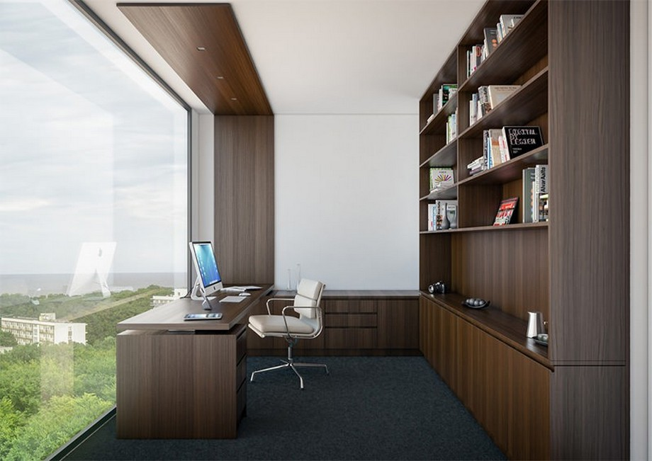 Thiết kế nội thất phòng làm việc cho giám đốc với thiết kế tối màu sang trọng