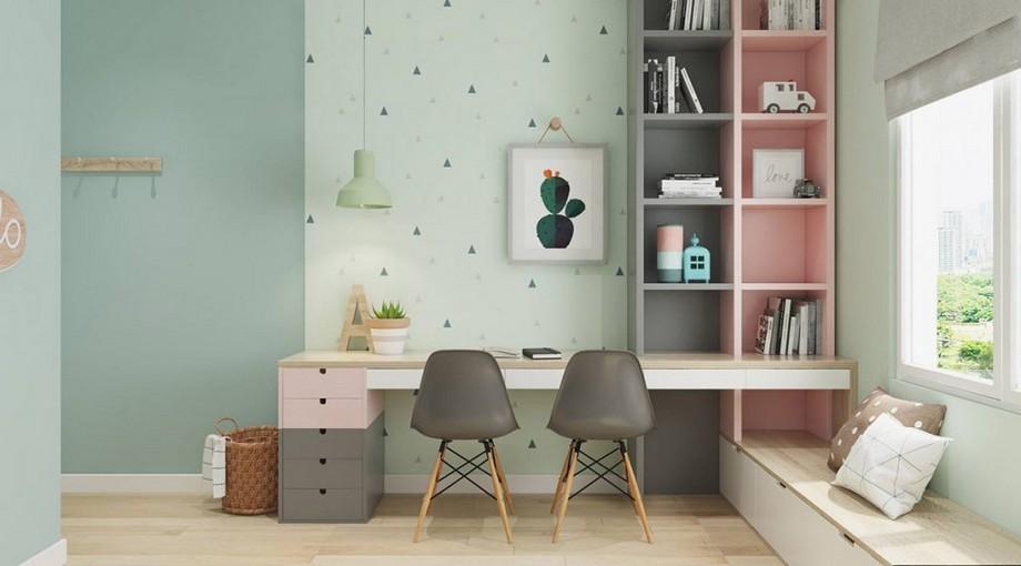 Thiết kế nội thất phòng làm việc nhỏ gam màu pastel ấn tượng