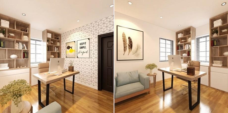 Phòng làm việc nhỏ tại gia được thiết kế phong cách tối giản, hiện đại