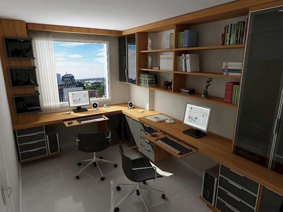 Phòng làm việc nhỏ trong căn hộ có thiết lế chữ L
