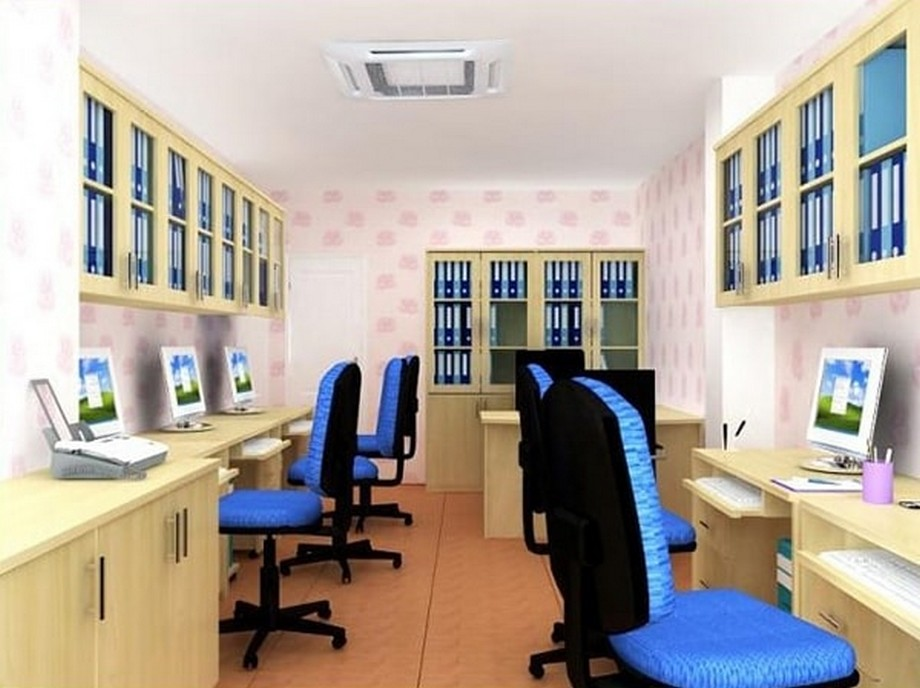 Thiết kế nội thất phòng làm việc nhỏ với hệ thống tủ tài liệu treo