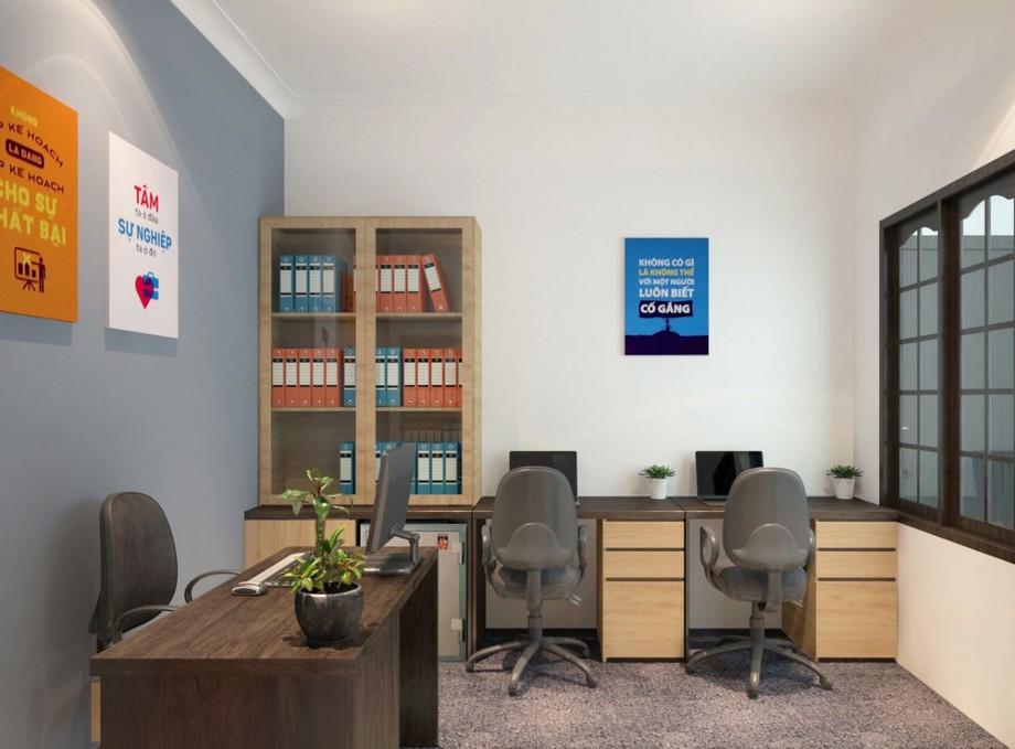 Thiết kế phòng làm việc nhỏ với thiết kế tối giản, tường trang trí với các chữ có ý nghĩa